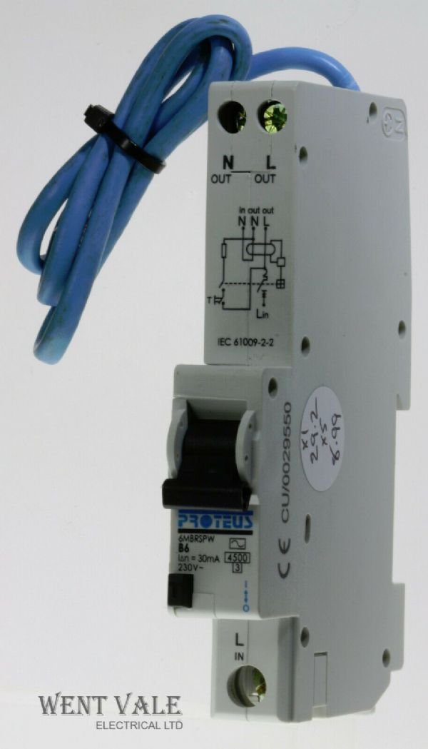 Proteus - 6MBRSPW - 6a 30mA Type B Single Pole RCBO Used